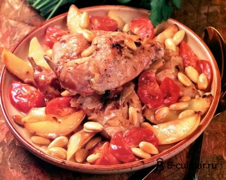 Готовое блюдо Кролик, тушенный с вином и миндалем