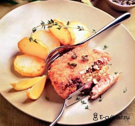 Готовое блюдо Лосось с горчичной пастой в панировке