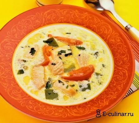 Готовое блюдо Сливочный суп с красной рыбой