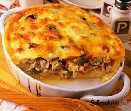 Готовое блюдо Пирог с баклажаном и куриной грудкой