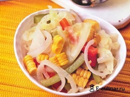 Готовое блюдо Овощи, маринованные с кукурузой