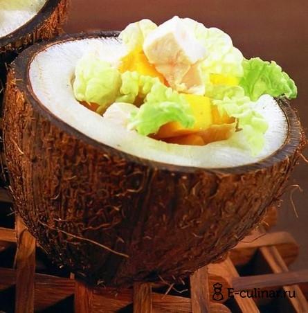 Готовое блюдо Салат из индейки с манго