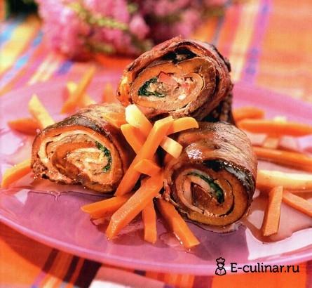Готовое блюдо Рулетики с печёнкой