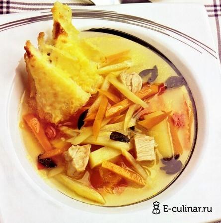 Готовое блюдо Суп из индейки с гренками