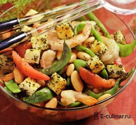Готовое блюдо Салат из фасоли с креветками