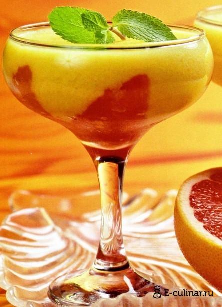Готовое блюдо Мусс из персиков с грейпфрутом