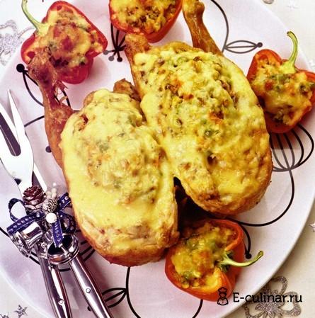 Готовое блюдо Курица, фаршированная овощами