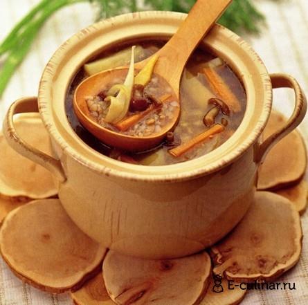 Готовое блюдо Постный суп (с грибами и гречкой)