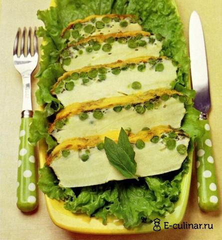 Готовое блюдо Мятный омлет с зеленым горошком