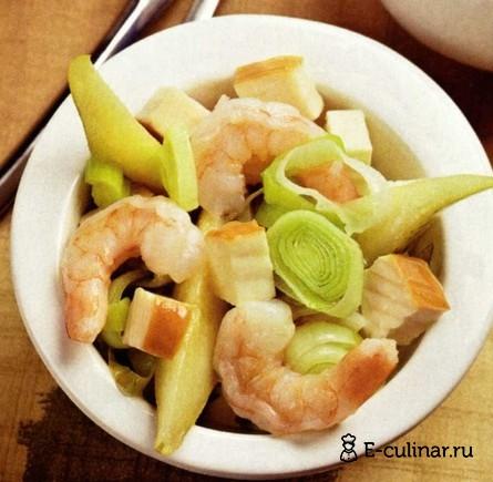 Готовое блюдо Cалат с креветками и грушами