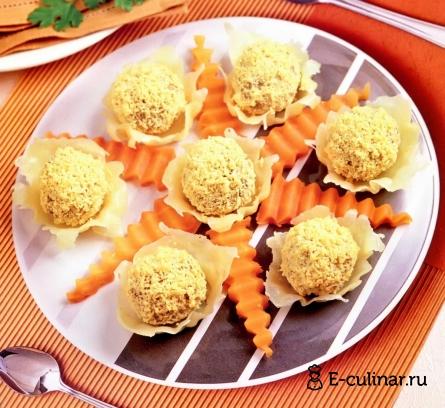 Готовое блюдо Шарики из печёнки на сыре
