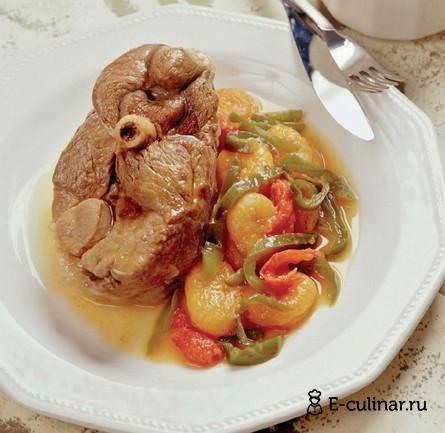 Готовое блюдо Баранина, тушенная с овощами и курагой