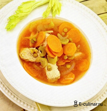 Готовое блюдо Суп из индейки с зеленой чечевицей