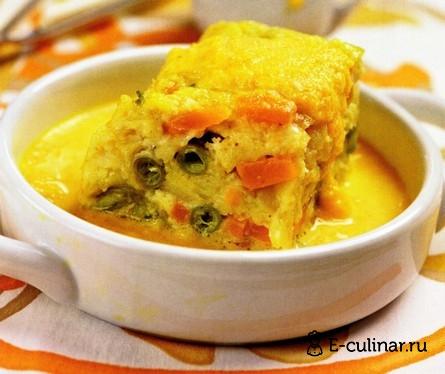 Готовое блюдо Пудинг из щуки с овощами