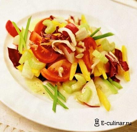 Готовое блюдо Овощной салат с чесночной заправкой