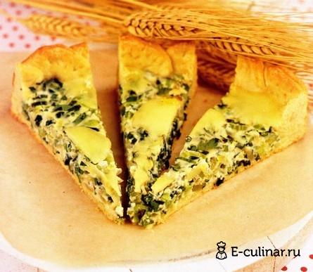 Готовое блюдо Песочный пирог с зеленым луком