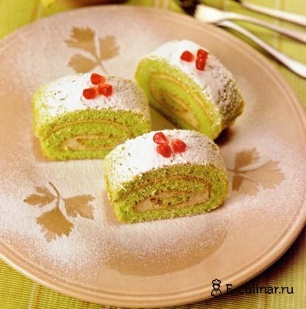 Готовое блюдо Сладкий зеленый рулет