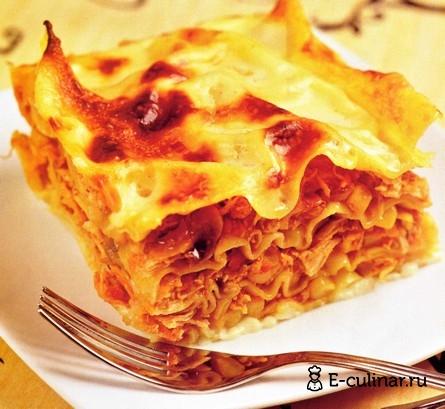 Готовое блюдо Лазанья с овощами и курицей