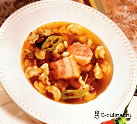 Готовое блюдо Суп с макаронами и грудинкой